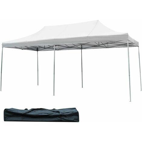 COSTWAY Tonnelle de Jardin 3x6M Tente Auvent Pliante avec Piquet de Terre en Fer,Sac de Transport en Tissu Oxford pour Fête Blanc