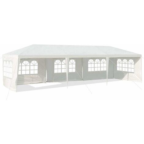 COSTWAY Tonnelle de Jardin inclut 5 Murs Amovibles avec Fenêtre sur Côté, avec Piquets de Terre Solides pour Les Fêtes de Mariage, BBQ de Plage etc. 3x9m