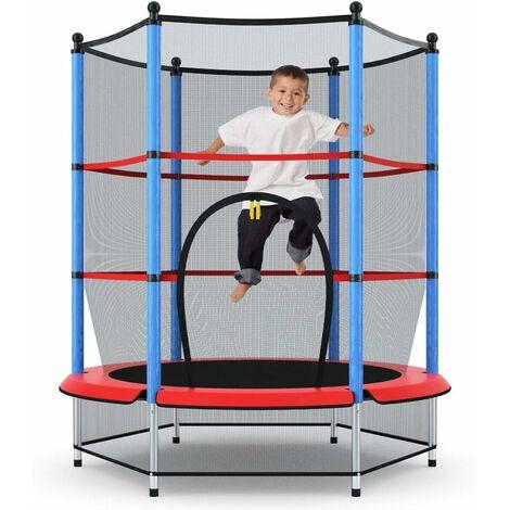 COSTWAY Trampoline de jardin Premium Trampoline avec Filet de sécurité pour les enfants et les jeunes enfants intérieure / extérieure bleu