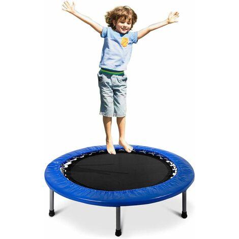 COSTWAY Trampoline Rebondisseur avec Rembourrage et Ressorts Elastique Aire de Jeu Bleu pour Enfants / Adultes