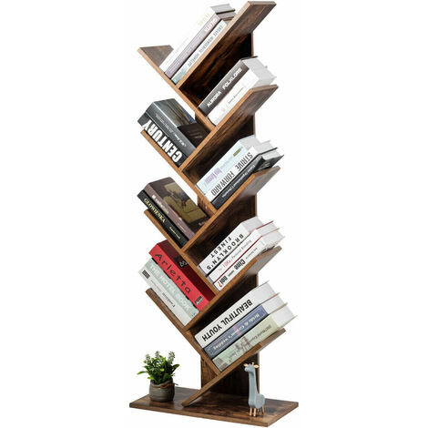 COSTWAY Tree Bookshelf, 8-Tier Bookcase, Free Standing Book Rack, Display Stand for CDs, Movies, Albums w/ Anti-toppling device