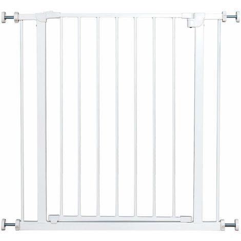 COSTWAY Treppenschutzgitter ohne Bohren, Tuergitter Weiss, Schutzgitter aus Metall, Tuerschutzgitter Absperrgitter Klemmgitter 71x77cm