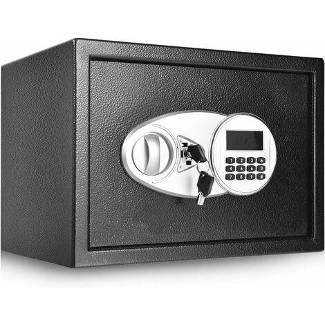 COSTWAY Tresor schwarz, Schranktresor Doppelbolzenverriegelung, Moebeltresor, Elektronischer Safe, Schranksafe 2-stoeckig