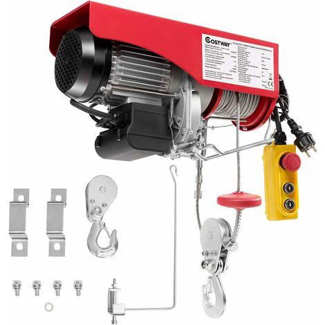 COSTWAY Treuil Electrique-Capacité de Charge 500KG/ 999KG 230V Grue Aérienne avec Télécommande, Fil d'Acier en Carbone Solide, Frein Automatique, Protection à la Surchauffe, pour Plafond