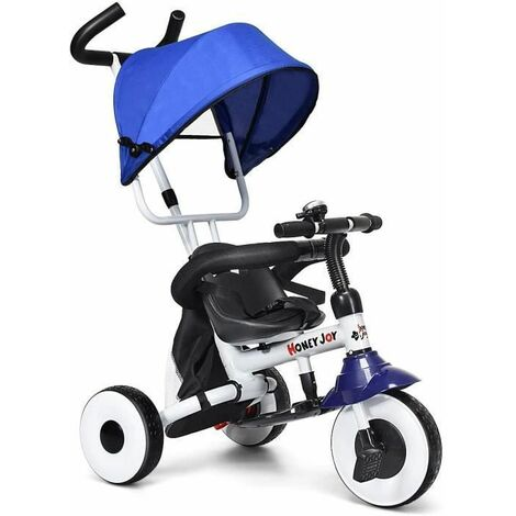 COSTWAY Tricycle Bébé Multifonction Pliable Poussette avec Pare-soleil et Tige-poussoir pour Enfant 1-5 Ans Charge de 25KG Bleu