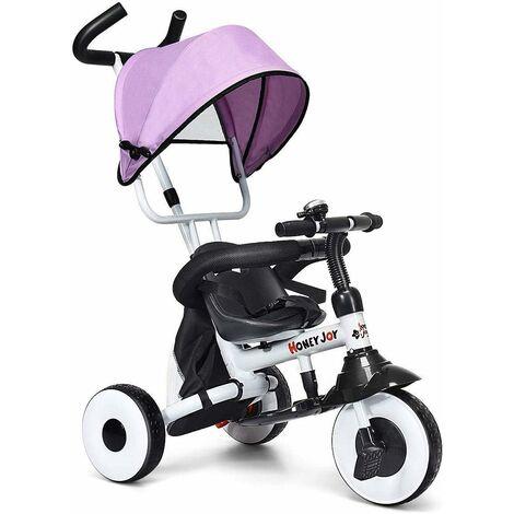 COSTWAY Tricycle Bébé Multifonction Pliable Poussette avec Pare-soleil et Tige-poussoir pour Enfant 1-5 Ans Charge de 25KG Rose
