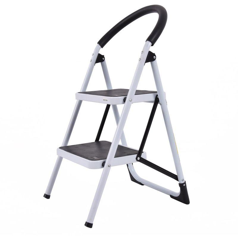 Schwarz einfach zu verstauen belastbar bis 150 kg Trittleiter 2 Stufen Klappbar Stehleiter Stabil Haushaltsleiter Treppenpodest Leiter leicht