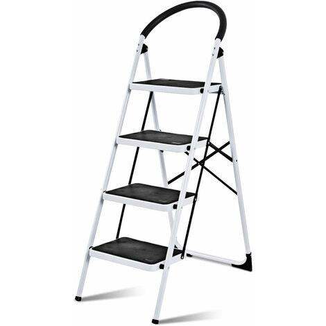 COSTWAY Trittleiter Klapptritt weiss, Stehleiter klappbar, Haushaltsleiter Stufenleiter platzsparend, Metall, Stufenstehleiter 150 kg Tragkraft 4-Stufen-Trittleiter