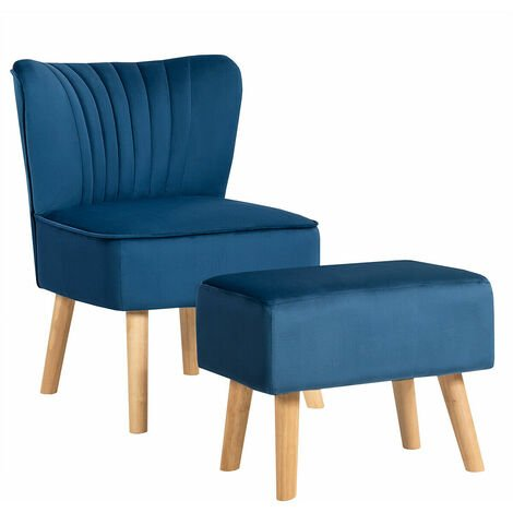 COSTWAY Velvet Accent Chair, Armless Side Dining Chair with Ottoman, Fabric Upholstered Padded Occasional Wingback Leisure Chair for Dressing, Lounge, Kitchen and Office (Blue)