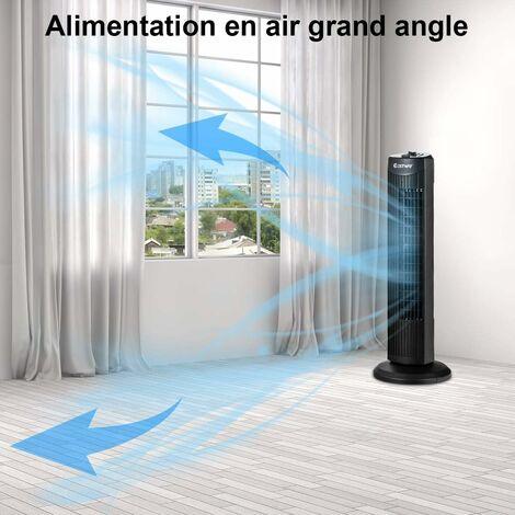"""main image of """"COSTWAY Ventilateur Tour Colonne 70,5CM Silencieux 45W 3 Niveaux de Vitesse Sans Lames Oscillation à 60°Noir pour Chambre,Bureau"""""""