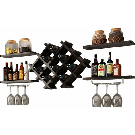 COSTWAY Wall Mounted Wine Rack with Floating Shelves, Champagne Glass Bottle Holder Bar Accessories Organiser Unit, Home Kitchen Dining Room Wine Storage Display Shelf (Black)
