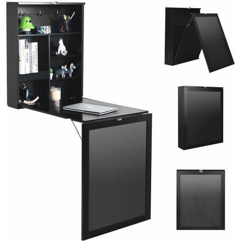 COSTWAY Wandtisch klappbar, Wandklapptisch aus MDF, Bartisch mit Tafel, Schreibtisch multifunktional, Esstisch, Kuechentisch, Computertisch, Klappschreibtisch, Laptoptisch Schwarz