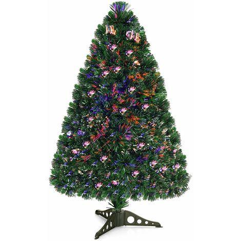 """main image of """"COSTWAY Weihnachtsbaum Kuenstlicher Tannenbaum Christbaum beleuchtet 90cm Grün mit Glasfaser-Farbwechsler"""""""