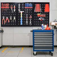 Costway Werkzeugwand Lochwand Werkstattwand mit 17tlg. Werkzeughalter-Set Werkzeughaltersortiment 3 Lochplatten Metall 120x60cm erweiterbar