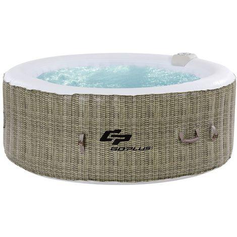 COSTWAY Whirlpool Aufblasbar, Massage Spa Pool Heizfunktion 4 Personen In-Outdoor Komplettset ?180cm rund Braun