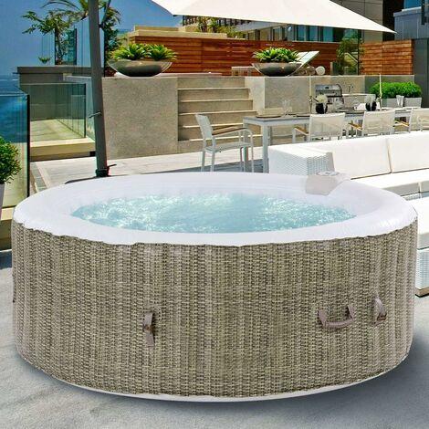 COSTWAY Whirlpool Massage Spa Pool/aufblasbar/Massage- und Heizfunktion / 6 Personen/In-Outdoor/Wasserfilter/rund (Braun / φ208cm)