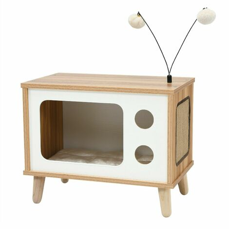 Costway Wooden Cat House TV-Shaped Cats Condo Bed Scratching Board Removable Cushion