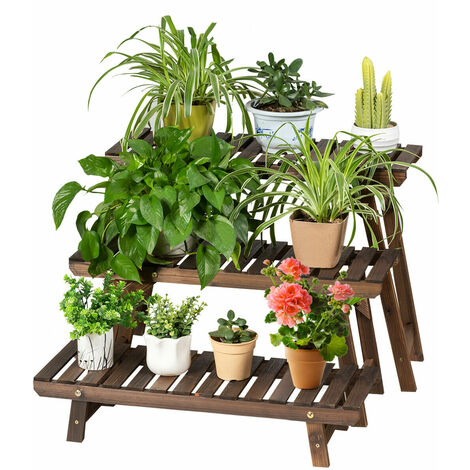 COSTWAY Wooden Flower Rack, 3-Tiers Plants Pots Storage Display Shelf
