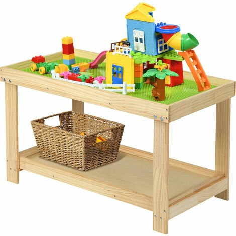 COSTWAY Wooden Kids Activity Table, Building Block Table with Storage, Removable Tabletop, Multifunctional Toddler Play Desk Boys Girls Gift for Bricks Crafts Arts Draw
