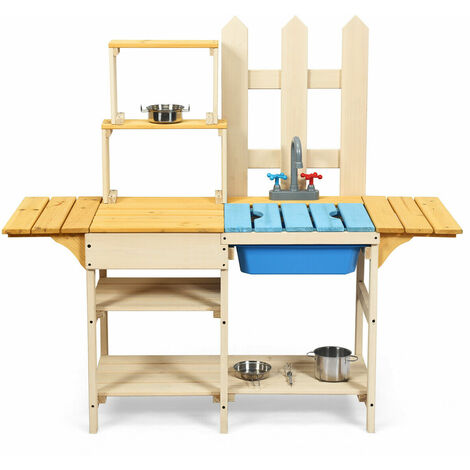 COSTWAY Wooden Mud Kitchen, Children Role Pretend Playset with Simulated Faucet, Sink, Removable Board, Outdoor Play Kitchen Set for Kids Toddlers