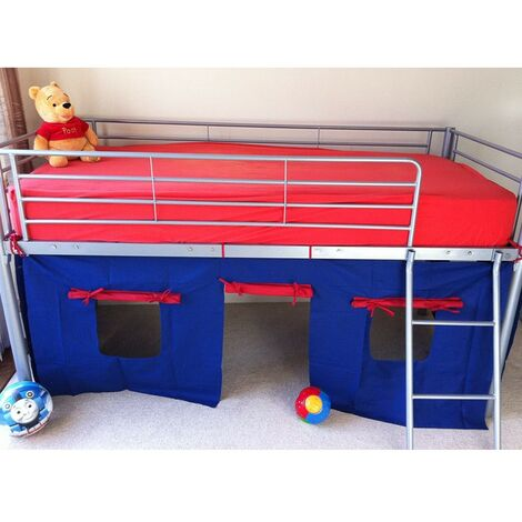 COSY STARS METAL MID SLEEPER CABIN BUNK BED WITH blue red FUN PLAYFUL TENT (BLUE/RED)
