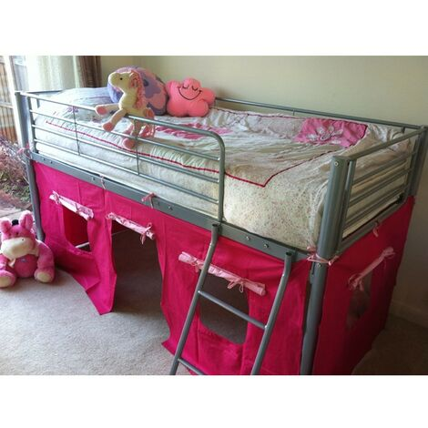 COSY STARS METAL MID SLEEPER CABIN BUNK BED WITH PINK FUN PLAYFUL TENT (PINK)
