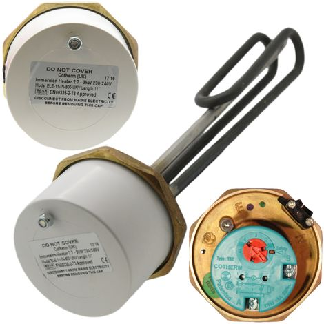 """Cotherm - 1 3/4"""" 3kW Immersion Heater 11"""" for Unvented Cylinders"""