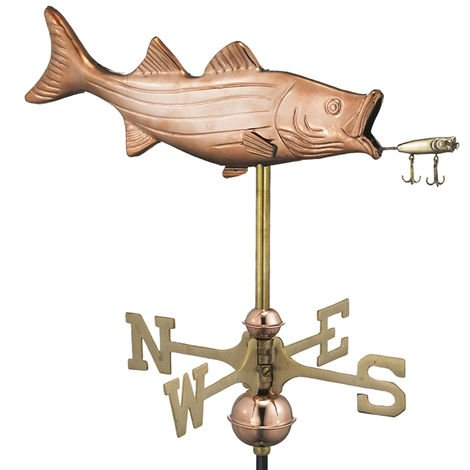 Cottage Bass with Lure Copper Weathervane