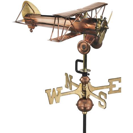 Cottage Bi Plane Copper Weathervane