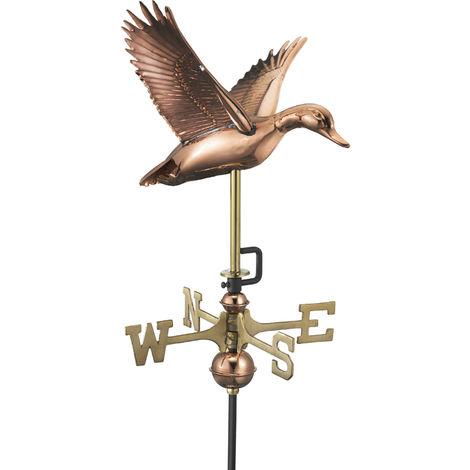 Cottage Duck in Flight Copper Weathervane