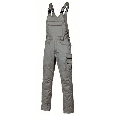 Cotte à bretelles de travail avec bavette équipée d'une poche extérieur zippée - JOKE Stone Grey - HY020SG - U-Power