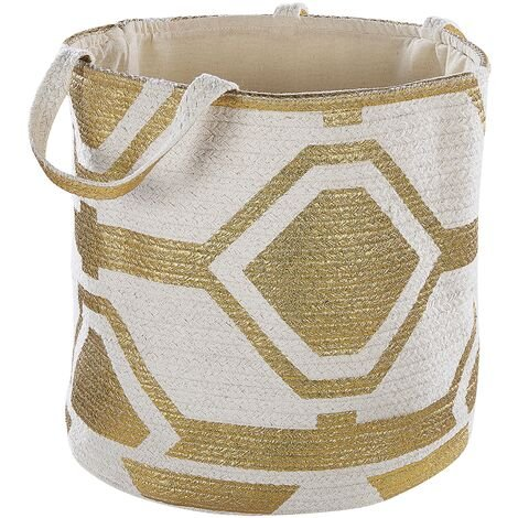 Cotton Basket Off-White with Gold HANWELLA