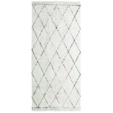 COTTON BERBERE Tapis de couloir - 70 x 110 cm - 100 % coton - Ecru naturel - Motif losange Aucune