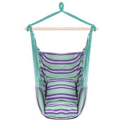 """main image of """"Cotton canvas swing pillow hanging chair outdoor garden travel hanging chair Green - Green"""""""