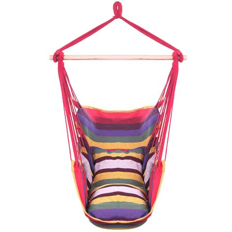 """main image of """"Cotton canvas swing pillow hanging chair outdoor garden travel hanging chair Rainbow - Rainbow"""""""