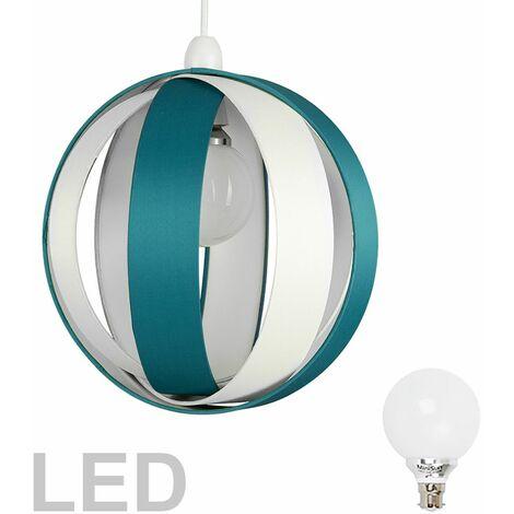 Cotton Cocoon Globe Ceiling Pendant Light Shade + 6W BC B22 LED Globe Bulb