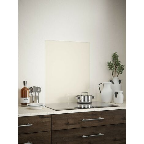 Cotton Cream Glass Kitchen Splashbacks - different dimensions available