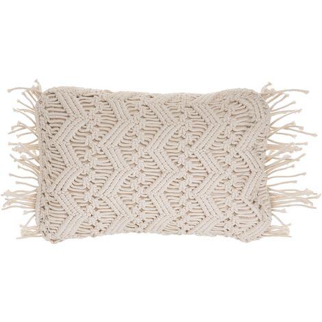 Cotton Cushion Macrame 30 x 45 cm Light Beige KIRIKKALE