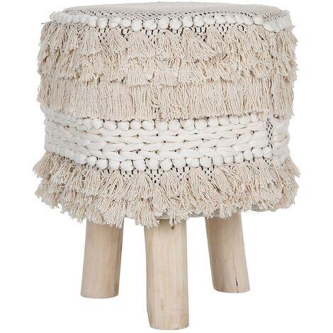 Cotton Footstool Fabric Beige Boho Strands Knots Tassels Solid Wood Legs Villur
