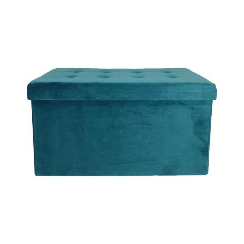 Cotton Wood Banc Coffre Pliable Velours 76 X 38 X 38 Cm Bleu