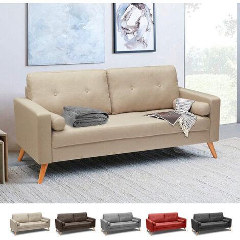 Couch Sofa Modern Design Skandinavisch Stil Stoff 3-Sitzer ...