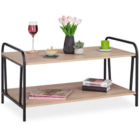 H x B x T: ca Holz Sofatisch Wohnzimmertisch Relaxdays Beistelltisch mit gro/ßer /Öffnung wei/ß 47 x 46 x 46 cm