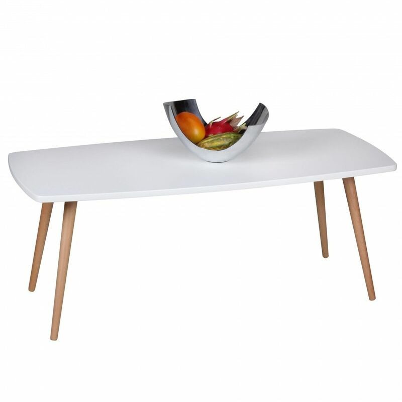 Fun Moebel - Couchtisch Beistelltisch - DAGNY - 110x50 cm Weiss matt / Buche massiv