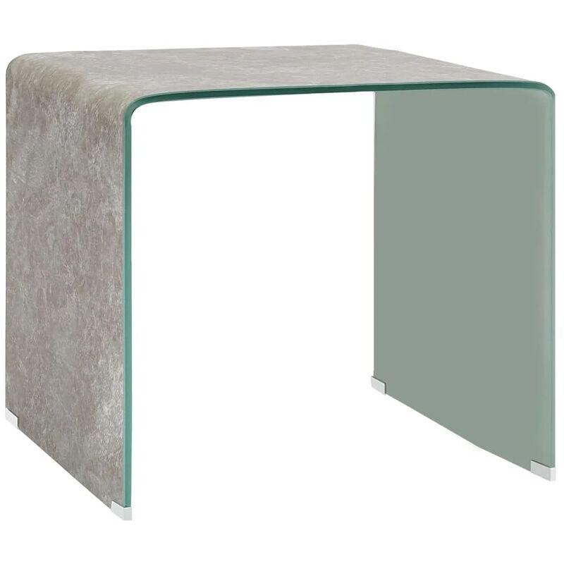Vidaxl - Couchtisch Braun Marmor-Optik 50 x 50 x 45 cm Hartglas
