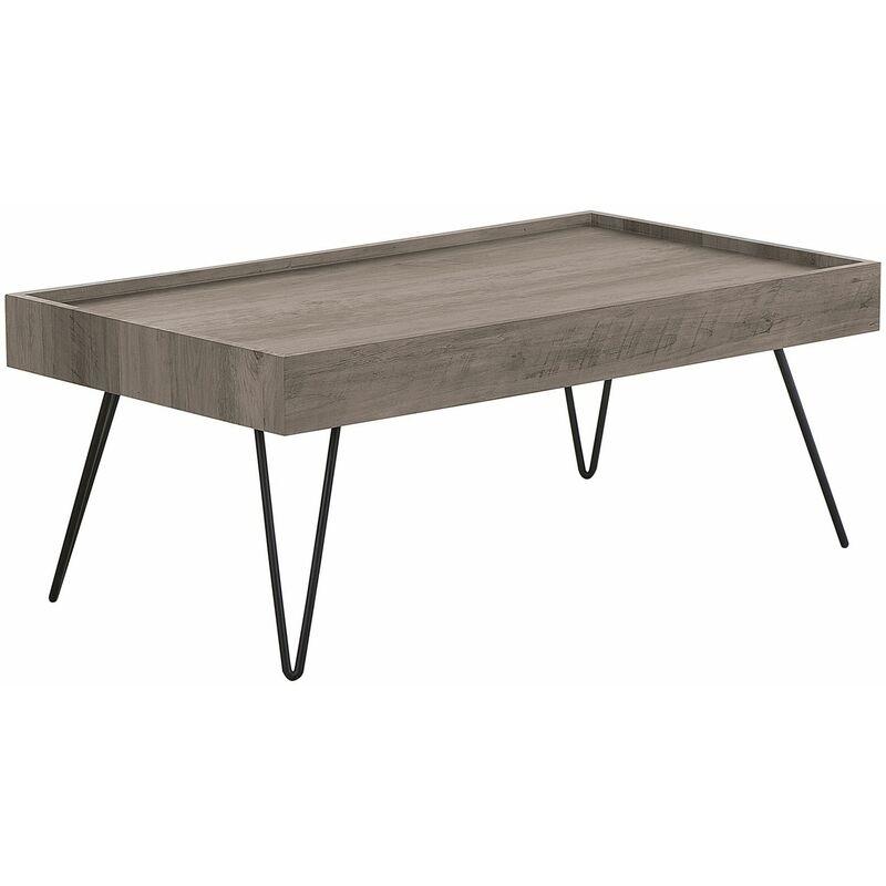 Couchtisch Braun Schwarz Taupe 60 x 100 cm Holzoptik Tischplatte V förmigen Füße Matt Rechteckig Industriell - BELIANI