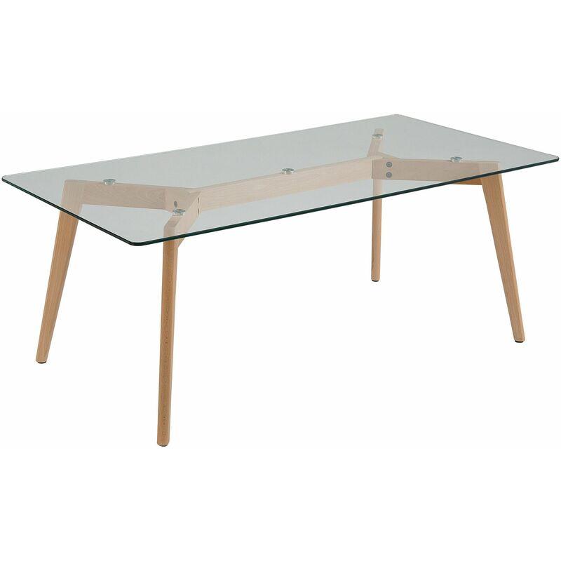 Couchtisch Transparent Braun 60 x 120 cm Glas Holzgestell Rechteckig Modern
