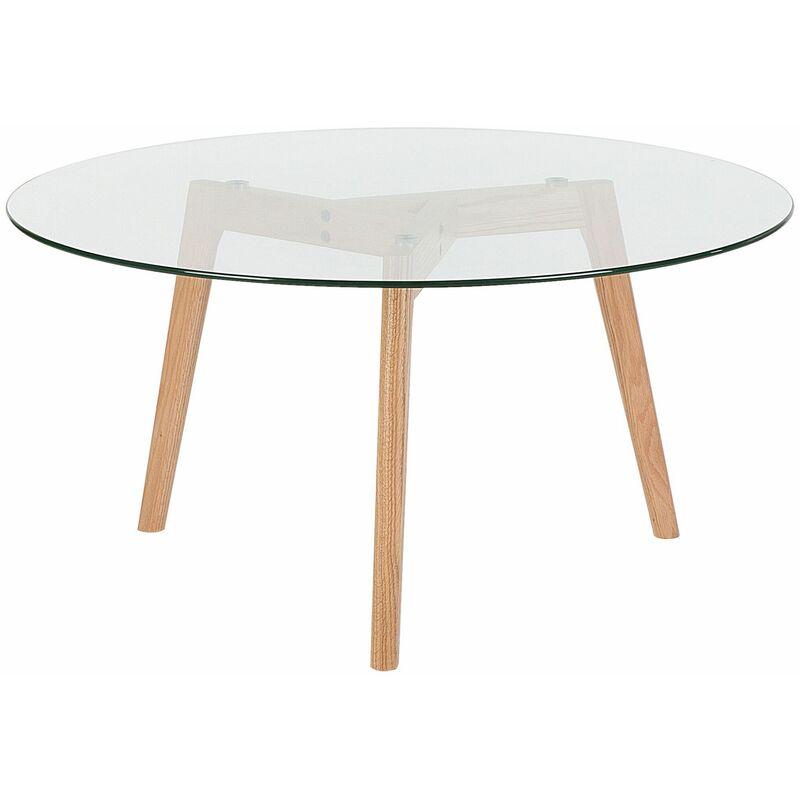 Couchtisch Transparent Braun Glasplatte Holzgestell Rund Modern - BELIANI