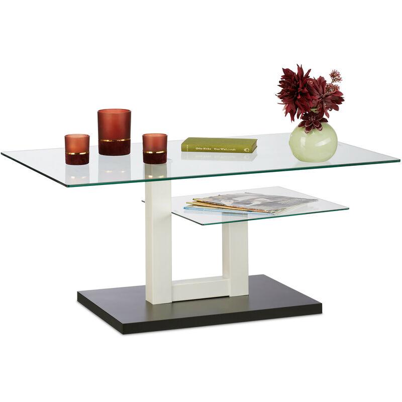 Relaxdays - Couchtisch Glas, modern, 2 Glasplatten, Wohnzimmer Glastisch, Design Sofatisch HBT: 45x100x60 cm, schwarz/weiß