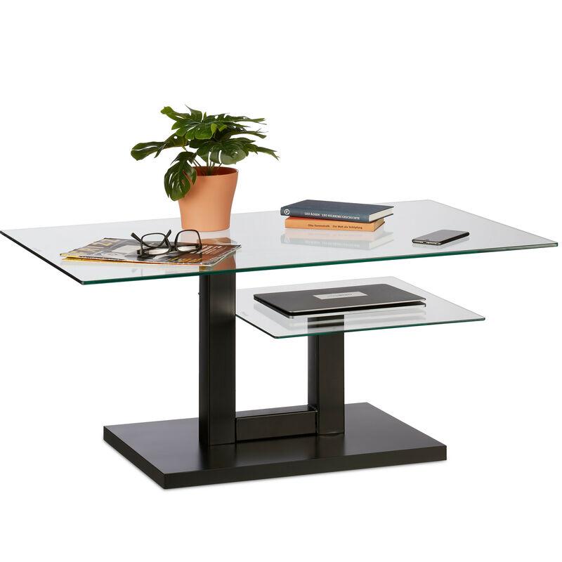 Relaxdays - Couchtisch Glas, moderner Glastisch, 2 Ablagen, Wohnzimmer, Design Sofatisch, HxBxT: 45 x 100 x 60 cm, schwarz