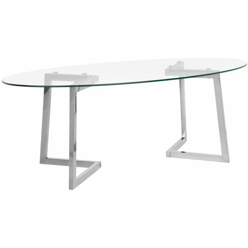 Couchtisch Transparent Silber 60 x 120 cm Glasplatte mit Edelstahl Universell einsetzbar Oval Modern - BELIANI